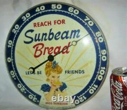 Vintage 1957 USA Sunbeam Bread Girl Art Advertising Thermometer Sign Pam Clock