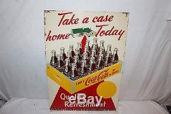 Vintage 1959 Coca Cola Soda Pop Bottle Take A Case Home Today 28 Metal Sign