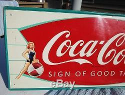 Vintage 1960 Coca Cola Fishtail Soda Pop Gas Station 32 Metal Sign