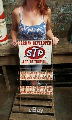 Vintage 1960s Embossed STP Motor Oil Can Display Gas Service Station Rack Sign