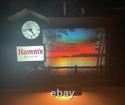 Vintage 1960s Hamms Beer Sign Sunrise to Sunset Motion Clock Light WORKS RARE