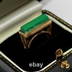 Vintage 1970s statement malachite designer 9 ct gold ring signed MC size L 7.5 g