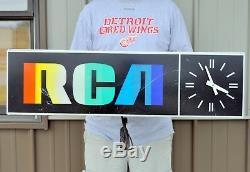 Vintage 1980s RCA Rainbow Lighted Clock Indoor Store Display Sign Advertisement