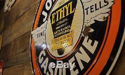 Vintage 30 JOHNSON Ethyl GASOLENE Double Sided Porcelain Gas Station Oil Sign