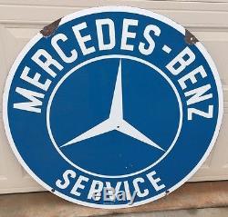 Vintage 42 Double Sided Porcelain Mercedes Benz Service Dealership Sign Gas Oil