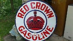Vintage 42 Porcelain Gasoline Advertising Sign Red Crown Gasoline Estate