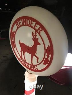 Vintage 54 Reindeer Parking Sign Christmas Lighted Blow Mold Yard Decor