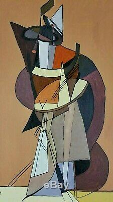 Vintage Abstract Cubism Painting Signed C Ney Mid Century Style Modernist Large