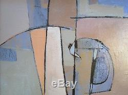 Vintage Abstract Painting Modernism Expressionism Non Objective Large Cubism