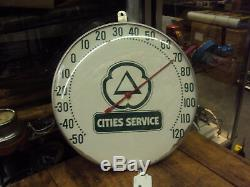 Vintage Advertising Cities Service 12 Round Metal/glass Thermometer 638-z