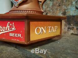Vintage Advertising Strohs Beer Stein Bar Light On Tap Sign