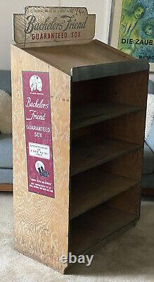 Vintage Antique Advertising Fashion Store Wood Display 1930s Bachelors Friend
