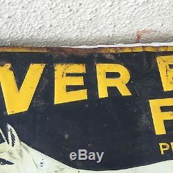Vintage Antique Advertising Tin Sign Silver Fox Flour