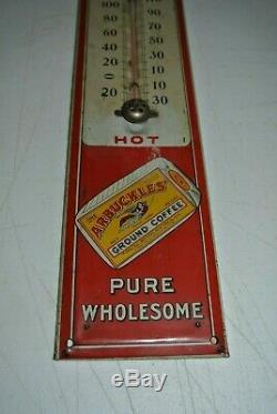 Vintage Antique Arbuckles' Coffee Tin Sign Thermometer AMAZING