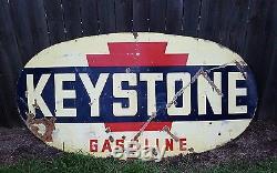 Vintage Antique Keystone Gasoline Sign Porcelain Double Sided LOCAL PICKUP ONLY