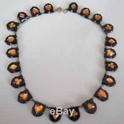 Vintage Art Deco Signed Czech Glass Vauxhall Playing Card Pattern Necklace