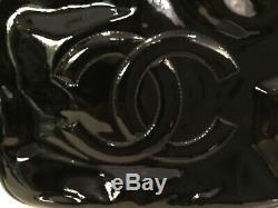 Vintage Authentic Signed Black Paten Leather Double C Chanel Handbag No Res