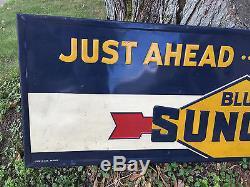 Vintage BLUE SUNOCO SIGN Service Station Gas Oil ORIGINAL Wood Metal JUST AHEAD