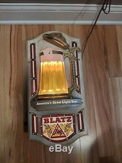 Vintage Blatz Beer Bubbler Lighted Beer Sign Mug Bar Light Minor Damage