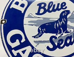 Vintage Bolene Blue Seal Gasoline Porcelain Sign Gas Station Pump Plate Oil