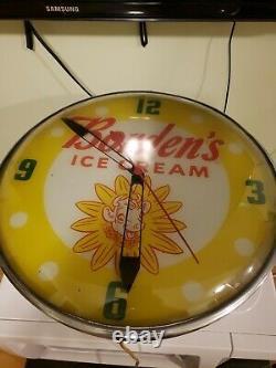 Vintage Borden's Dairy Ice Cream Elsie the Cow PAM WALL CLOCK 15 Diameter