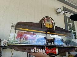 Vintage Budweiser Beer Champion Clydesdale Horse Team Lighted Sign (works)
