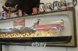 Vintage Budweiser Beer Lighted World Champion Clydesdale Team Bar Sign