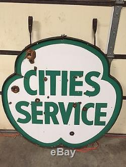Vintage CITIES SERVICE 48 Porcelain Sign With Ring Gas Oil Sign