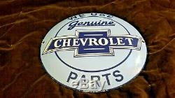 Vintage Chevrolet Porcelain Gas Auto Genuine Parts Button Service Chevy Sign