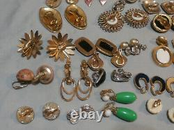 Vintage Clip On Earrings Lot of 25 Pairs All Signed Lisner Trifari Monet More
