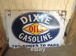 Vintage DIXIE OILS gasoline PORCELAIN Gas Oil Station sign Rare UNIqUE original