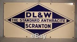 Vintage DL & W Porcelain Coal Sign Scranton, Pa