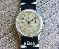 Vintage Delbana WWII Military Chronograph Watch Landeron 48 Excellent 3x Signed