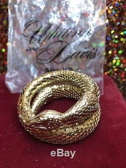Vintage Designer Signed Whiting & Davis Mesh Gold Snake Bracelet