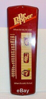 Vintage Dr Pepper Metal Thermometer When It's Hot It's Cold 24 Long Sign Works