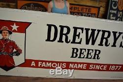 Vintage Drewrys Beer Sign HUGE tin Bar Advertising 1950's Memorabilia Gas Oil