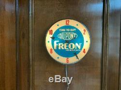 Vintage DuPont Freon Refrigerant lighted advertising clock manufactured by Pam