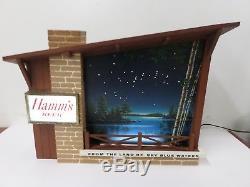 Vintage Electric Incandescent Hamm's Beer Starry Skies Lighted Bar Sign Works