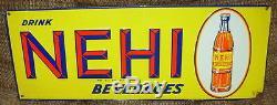 Vintage Embossed Nehi Beverage Drink Sign w Beautiful Color Antique Soda 9285
