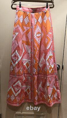 Vintage Emilio Pucci Saks Fifth Avenue Signed Print Cotton Maxi Dress Skirt 14