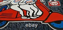 Vintage Esso Oil Drop Boy Girl Scooter 20 Porcelain Service Gasoline 2 Signs