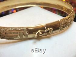 Vintage Estate 10k Gold Bracelet Bangle Greek Key Designer Signed Au Textured