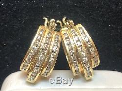 Vintage Estate 10k Gold Diamond Earrings Designer Signed Lgl Oval Triple Hoop