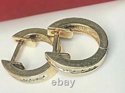 Vintage Estate 10k Gold Diamond Earrings Hoops Huggies Designer Signed F. D