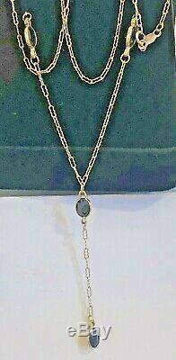 Vintage Estate 10k Gold Natural Blue Sapphire Necklace Signed CID Lariat