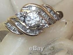 Vintage Estate 10k Gold Natural Diamond Engagement Ring Wedding Signed Lsc