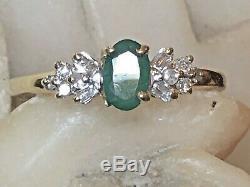 Vintage Estate 10k Gold Natural Green Emerald Diamond Ring Gemstone Signed Fth