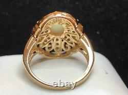Vintage Estate 10k Gold Natural Opal & Diamond Ring Engagement Signed Jcr
