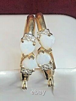 Vintage Estate 10k Gold Opal & Diamonds Hoop Earrings Hearts Signed C C