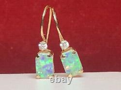 Vintage Estate 10k Gold Opal Earrings French Wire Designer Signed P